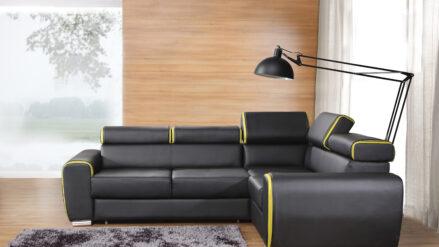 deluxe Ecksofa Kunstleder schwarz mit gelb - mit Schlaffunktion Ovada