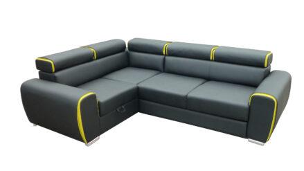 Ecksofa Kunstleder schwarz mit gelb - mit Schlaffunktion Ovada