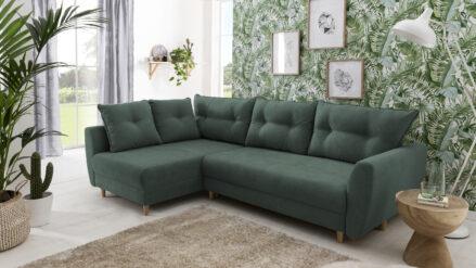 Ecksofa mit Sitztiefenverstellung mit bettfunktion Rieti samt grun