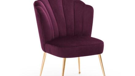 Deluxe Polsterstuhl muschelstuhl samt violett mit gold füssen - Bolonia