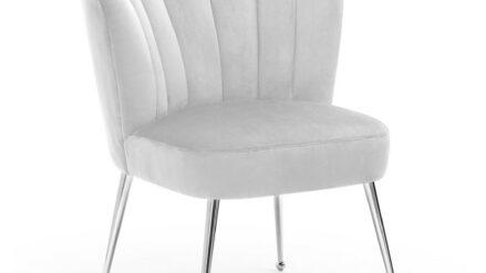 Deluxe Polsterstuhl muschelstuhl samt grau mit silber fusse - Bolonia