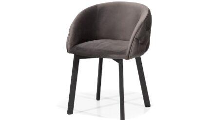 Polsterstuhl mit schwarzen Beinen