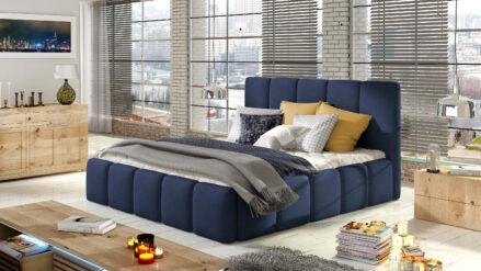 Polsterbett blau webstoff mit Bettkasten & Lattenrost - Belluno 140x200 160x200 180x200