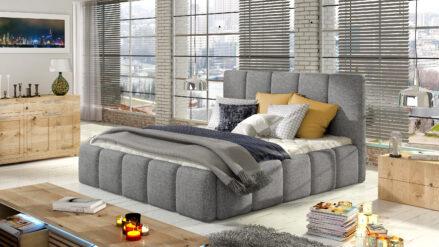 Polsterbett grau webstoff mit Bettkasten & Lattenrost - Belluno 140x200 160x200 180x200