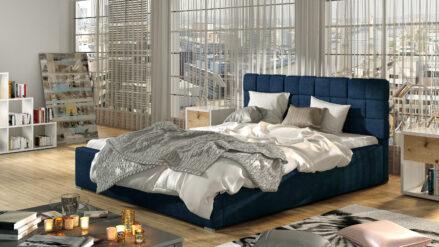 Polsterbett mit Lattenrost samt blau 140x200, 160x200 , 180x200, 200x200 - Emporio