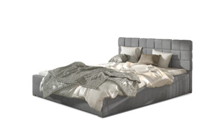 Polsterbett mit Bettkasten & Lattenrost grau webstoff >>Emporio