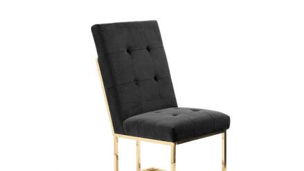 Polsterstuhl schwarz mit goldenen Beinen Kerem