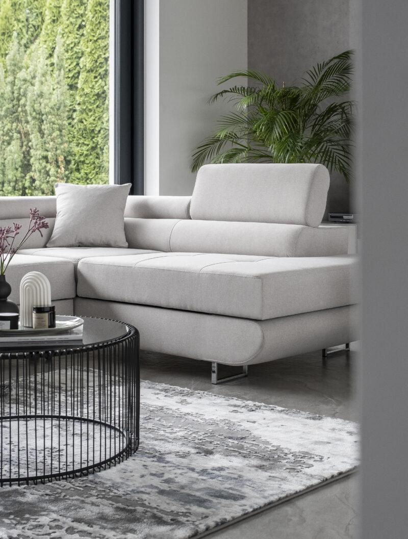 Ecksofa webstoff grau mit Schlaffunktion und bettkasten -sofaundbett.de Marseille
