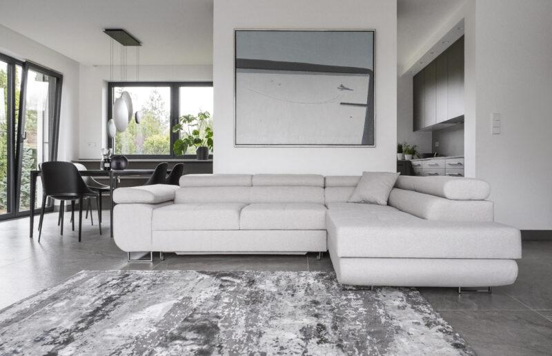 deluxe Ecksofa webstoff grau mit Schlaffunktion und bettkasten -sofaundbett.de Marseille