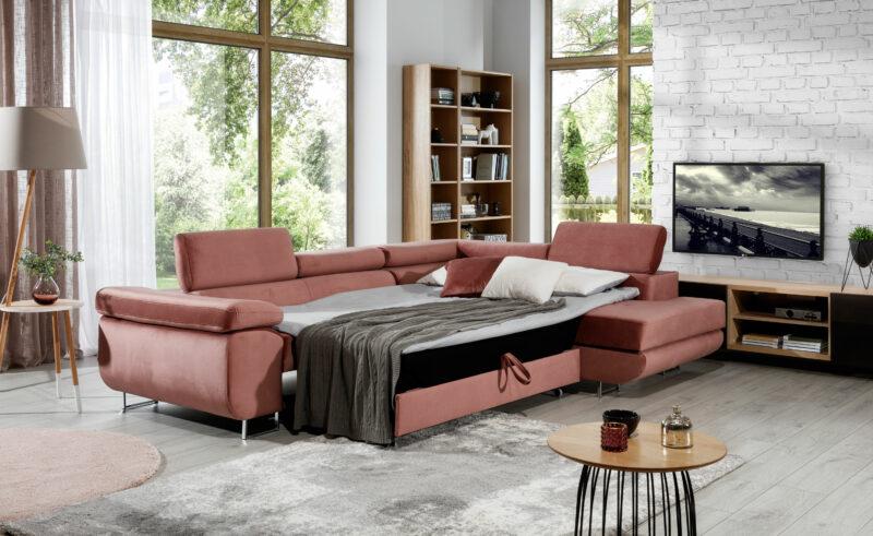 Ecksofa samt rosa mit Schlaffunktion und bettkasten -sofaundbett.de Marseille