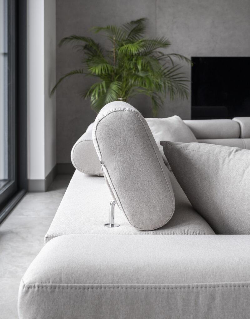 Ecksofa webstoff grau mit Schlaffunktion und bettkasten -sofaundbett.de Marseille detal