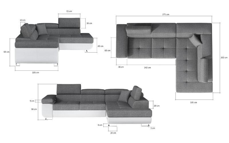 Ecksofa mit bettfunktion und bettkasten -sofaundbett.de Marseille
