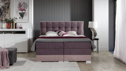 Chesterfield Boxspringbett rosa 2 Farben mit Bettkasten -Montana