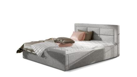 Polsterbett webstoff grau mit Bettkasten -140x200, 160x200, 180x200, 200x200 cmRos