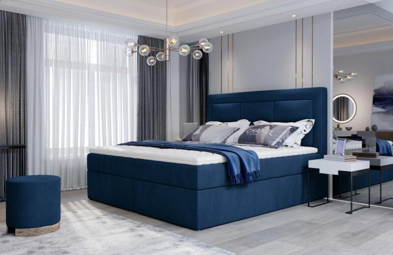 elegantes Boxspringbett blau mit 2 Bettkasten Tacoma