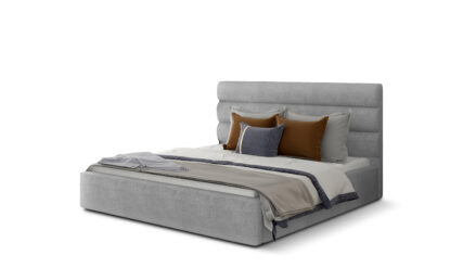 Polsterbett grau mit Bettkasten & Lattenrost - REMO