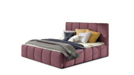Polsterbett rosa webstoff mit Bettkasten & Lattenrost - Belluno 140x200 160x200 180x200