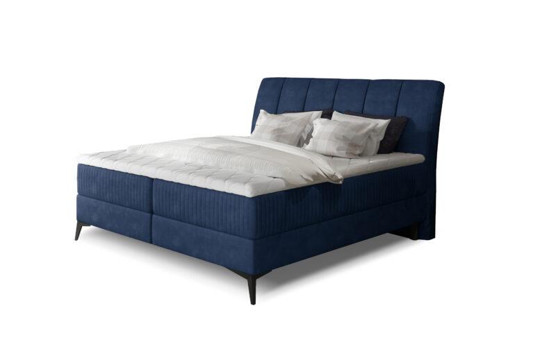 elegantes Boxspringbett blau mit bettkasten und schwarz fusse 160x200 180x200 140x200 cm
