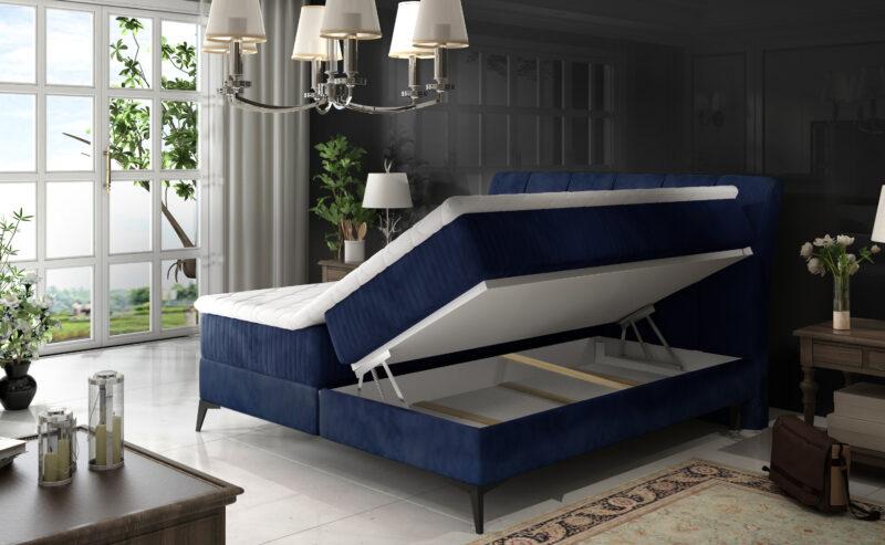 Boxspringbett mit Bettkasten Florida blau 140x200 160x200 180x200
