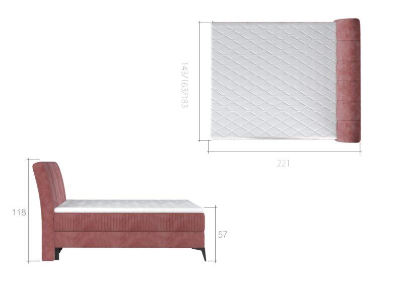 Boxspringbett mit Bettkasten Florida rot 140x200 160x200 180x200