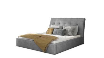 Polsterbett webstoff grau mit Bettkasten & Lattenrost 140x200 160x200 180x200 200x200 - Mango