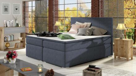 Boxspringbett mit Bettkasten Simple webstoff blau