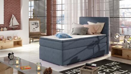Boxspringbett 90x200 mit Bettkasten webstoff blau Tommy