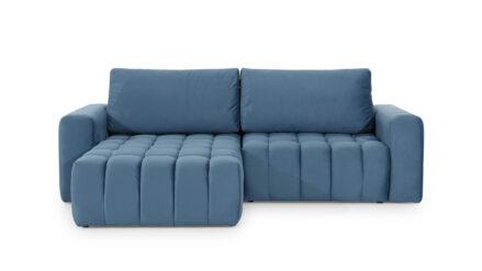 Eckschlafsofa samt blau mit Bettkasten Azarro links