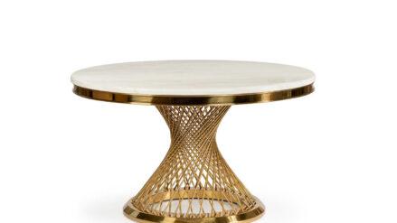 Glamour Esstisch rund Marmor & Gold