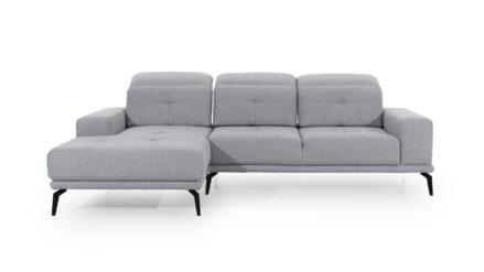 Ecksofa mit Sitztiefenverstellung webstoff hellgrau Murcja Lux