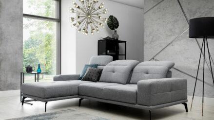 designer Ecksofa webstoff grau mit Hocker Murcja Lux
